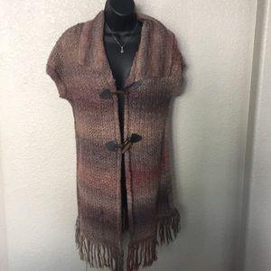 Ponsesa Toggle Fringe Short Sleeve Sweater Vest